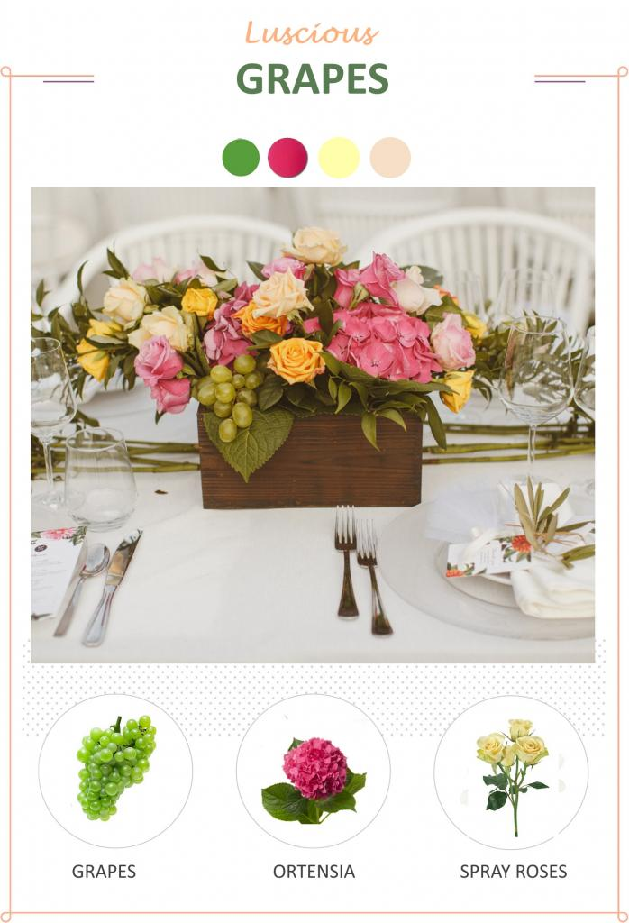 fruits in floral arrangements